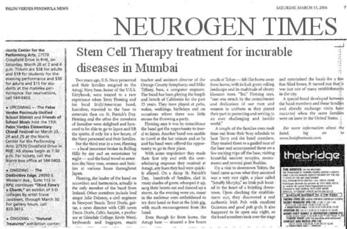 newspaper articles for stem cell research Research using stem cells that are derived from human embryos has been hotly  opens news@nature 17 may pincock s (2004) zavos cloning article pulled.