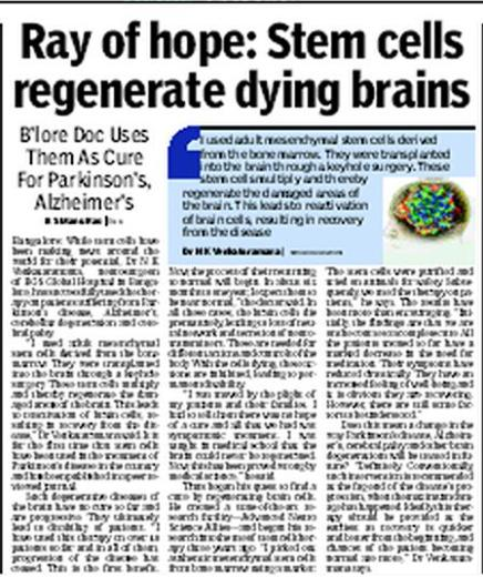 stem cell research newspaper article